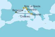 Visitando Barcelona, Niza (Francia), Portofino (Italia), La Spezia, Florencia y Pisa (Italia), Civitavecchia (Roma), Nápoles (Italia), Barcelona