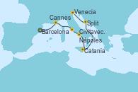 Visitando Barcelona, Cannes (Francia), Civitavecchia (Roma), Nápoles (Italia), Catania (Sicilia), Split (Croacia), Venecia (Italia)