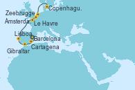 Visitando Barcelona, Cartagena (Murcia), Gibraltar (Inglaterra), Lisboa (Portugal), Le Havre (Francia), Zeebrugge (Bruselas), Ámsterdam (Holanda), Copenhague (Dinamarca)