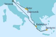Visitando Venecia (Italia), Kotor (Montenegro), Dubrovnik (Croacia), Santorini (Grecia), Katakolon (Olimpia/Grecia), Venecia (Italia)