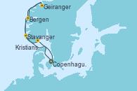 Visitando Copenhague (Dinamarca), Geiranger (Noruega), Bergen (Noruega), Stavanger (Noruega), Kristiansand (Noruega), Copenhague (Dinamarca)