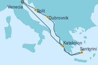 Visitando Venecia (Italia), Split (Croacia), Dubrovnik (Croacia), Santorini (Grecia), Katakolon (Olimpia/Grecia), Venecia (Italia)