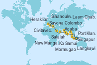 Visitando Singapur, Ko Samui (Tailandia), Laem Chabang (Bangkok/Thailandia), Laem Chabang (Bangkok/Thailandia), Sihanoukville (Camboya), Singapur, Port Klang (Malasia), Langkawi (Malasia), Colombo (Sri Lanka), New Mangalore (La India), Mormugao (India), Salalah (Omán), Aqaba (Jordania), Heraklion (Creta), Civitavecchia (Roma), Savona (Italia)