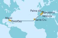Visitando Barcelona, Palma de Mallorca (España), Valencia, Santa Cruz de Tenerife (España), CocoCay (Bahamas), Miami (Florida/EEUU)