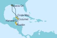 Visitando Nueva Orleans (Luisiana), Costa Maya (México), Harvest Caye (Belize), Roatán (Honduras), Cozumel (México), Nueva Orleans (Luisiana)
