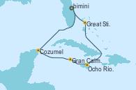 Visitando Puerto Cañaveral (Florida), Cozumel (México), Gran Caimán (Islas Caimán), Ocho Ríos (Jamaica), Great Stirrup Cay (Bahamas), Puerto Cañaveral (Florida)