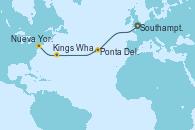 Visitando Southampton (Inglaterra), Ponta Delgada (Azores), Kings Wharf (Bermudas), Kings Wharf (Bermudas), Nueva York (Estados Unidos)