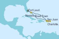 Visitando Fort Lauderdale (Florida/EEUU), San Juan (Puerto Rico), Charlotte Amalie (St. Thomas), Road Town (Isla Tórtola/Islas Vírgenes), Nassau (Bahamas), Fort Lauderdale (Florida/EEUU)