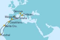 Visitando Barcelona, Casablanca (Marruecos), Santa Cruz de Tenerife (España), Funchal (Madeira), Málaga, Civitavecchia (Roma), Génova (Italia)