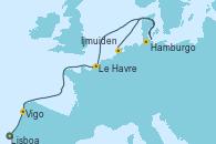 Visitando Lisboa (Portugal), Vigo (España), Le Havre (Francia), Hamburgo (Alemania), Ijmuiden (Ámsterdam)