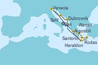 Visitando Bari (Italia), Argostoli (Grecia), Atenas (Grecia), Santorini (Grecia), Rodas (Grecia), Heraklion (Creta), Dubrovnik (Croacia), Split (Croacia), Venecia (Italia), Bari (Italia)