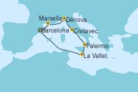 Visitando Barcelona, Marsella (Francia), Génova (Italia), Civitavecchia (Roma), Palermo (Italia), La Valletta (Malta), Barcelona