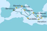 Visitando Barcelona, La Valletta (Malta), Heraklion (Creta), Rodas (Grecia), Atenas (Grecia), Corfú (Grecia), Civitavecchia (Roma), Génova (Italia), Marsella (Francia), Barcelona