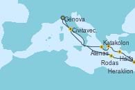 Visitando Génova (Italia), Katakolon (Olimpia/Grecia), Atenas (Grecia), Rodas (Grecia), Haifa (Israel), Haifa (Israel), Heraklion (Creta), Civitavecchia (Roma), Génova (Italia)