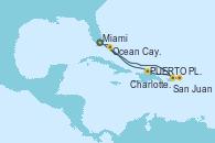 Visitando Miami (Florida/EEUU), San Juan (Puerto Rico), San Juan (Puerto Rico), Charlotte Amalie (St. Thomas), Ocean Cay MSC Marine Reserve (Bahamas), Miami (Florida/EEUU)