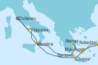 Visitando Civitavecchia (Roma), Messina (Sicilia), Chania (Creta/Grecia), Mykonos (Grecia), Kusadasi (Efeso/Turquía), Santorini (Grecia), Atenas (Grecia), Nápoles (Italia), Civitavecchia (Roma)