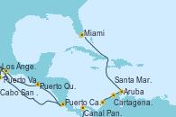 Visitando Los Ángeles (California), Cabo San Lucas (México), Puerto Vallarta (México), Puerto Quetzal (Guatemala), Puerto Caldera (Costa Rica), Canal Panamá, Cartagena de Indias (Colombia), Santa Marta (Colombia), Oranjestad (Aruba), Miami (Florida/EEUU)