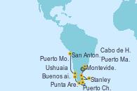 Visitando Buenos aires, Montevideo (Uruguay), Puerto Madryn (Argentina), Stanley (Malvinas), Cabo de Hornos (Chile), Ushuaia (Argentina), Punta Arenas (Chile), Puerto Chacabuco (Chile), Puerto Montt (Chile), San Antonio (Chile)