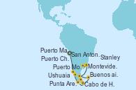 Visitando San Antonio (Chile), Puerto Montt (Chile), Puerto Chacabuco (Chile), Punta Arenas (Chile), Ushuaia (Argentina), Cabo de Hornos (Chile), Stanley (Malvinas), Puerto Madryn (Argentina), Montevideo (Uruguay), Buenos aires