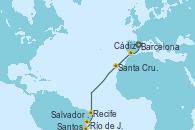 Visitando Barcelona, Cádiz (España), Santa Cruz de Tenerife (España), Recife (Brasil), Salvador de Bahía (Brasil), Río de Janeiro (Brasil), Santos (Brasil)