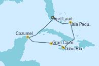 Visitando Fort Lauderdale (Florida/EEUU), Isla Pequeña (San Salvador/Bahamas), Ocho Ríos (Jamaica), Gran Caimán (Islas Caimán), Cozumel (México), Fort Lauderdale (Florida/EEUU)