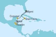 Visitando Miami (Florida/EEUU), Gran Caimán (Islas Caimán), Roatán (Honduras), Belize (Caribe), Cozumel (México), Miami (Florida/EEUU)