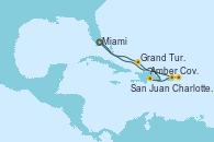 Visitando Miami (Florida/EEUU), Amber Cove (República Dominicana), Charlotte Amalie (St. Thomas), San Juan (Puerto Rico), Grand Turks(Turks & Caicos), Miami (Florida/EEUU)