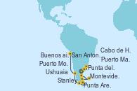 Visitando Buenos aires, Montevideo (Uruguay), Punta del Este (Uruguay), Puerto Madryn (Argentina), Stanley (Malvinas), Cabo de Hornos (Chile), Ushuaia (Argentina), Punta Arenas (Chile), Puerto Montt (Chile), San Antonio (Chile)