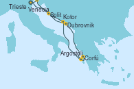 Visitando Venecia (Italia), Dubrovnik (Croacia), Corfú (Grecia), Argostoli (Grecia), Kotor (Montenegro), Split (Croacia), Trieste (Italia), Venecia (Italia)