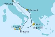 Visitando Venecia (Italia), Dubrovnik (Croacia), Corfú (Grecia), Argostoli (Grecia), La Valletta (Malta), Siracusa (Sicilia), Venecia (Italia)