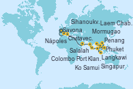 Visitando Savona (Italia), Civitavecchia (Roma), Nápoles (Italia), Salalah (Omán), Mormugao (India), Colombo (Sri Lanka), Phuket (Tailandia), Langkawi (Malasia), Penang (Malasia), Port Klang (Malasia), Singapur, Ko Samui (Tailandia), Laem Chabang (Bangkok/Thailandia), Laem Chabang (Bangkok/Thailandia), Sihanoukville (Camboya), Singapur