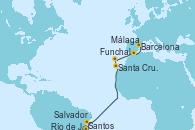 Visitando Santos (Brasil), Río de Janeiro (Brasil), Río de Janeiro (Brasil), Salvador de Bahía (Brasil), Santa Cruz de Tenerife (España), Funchal (Madeira), Málaga, Barcelona