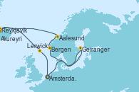 Visitando Ámsterdam (Holanda), Geiranger (Noruega), Bergen (Noruega), Aalesund (Noruega), Reykjavik (Islandia), Reykjavik (Islandia), Akureyri (Islandia), Lerwick (Escocia), Ámsterdam (Holanda)