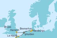Visitando Ijmuiden (Ámsterdam), Harwich (Inglaterra), Le Havre (Francia), Brujas (Bélgica), Hamburgo (Alemania), Bremerhaven (Alemania), Ijmuiden (Ámsterdam)