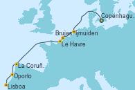 Visitando Copenhague (Dinamarca), Ijmuiden (Ámsterdam), Brujas (Bélgica), Le Havre (Francia), La Coruña (Galicia/España), Oporto (Portugal), Lisboa (Portugal)