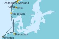 Visitando Ijmuiden (Ámsterdam), Aalesund (Noruega), Flam (Noruega), Andalsnes (Noruega), Olden (Noruega), Haugesund (Noruega), Bremerhaven (Alemania), Ijmuiden (Ámsterdam)