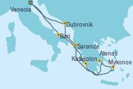 Visitando Venecia (Italia), Bari (Italia), Katakolon (Olimpia/Grecia), Mykonos (Grecia), Atenas (Grecia), Sarande (Albania), Dubrovnik (Croacia), Venecia (Italia)
