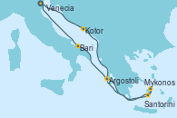 Visitando Venecia (Italia), Kotor (Montenegro), Mykonos (Grecia), Mykonos (Grecia), Santorini (Grecia), Argostoli (Grecia), Bari (Italia), Venecia (Italia)