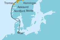 Visitando Kiel (Alemania), Aalesund (Noruega), Honningsvag (Noruega), Honningsvag (Noruega), Tromso (Noruega), Molde (Noruega), Nordfjordeid, Kiel (Alemania)
