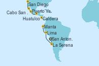 Visitando San Antonio (Chile), La Serena (Coquimbo/Chile), Lima (Callao/Perú), Manta (Ecuador), Caldera (Costa Rica), Huatulco (México), Puerto Vallarta (México), Cabo San Lucas (México), San Diego (California/EEUU)