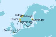 Visitando Southampton (Inglaterra), Stavanger (Noruega), Olden (Noruega), Hellesylt (Noruega), Geiranger (Noruega), Bergen (Noruega), Southampton (Inglaterra)