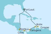Visitando Fort Lauderdale (Florida/EEUU), Puerto Limón (Costa Rica), Colón (Panamá), Cartagena de Indias (Colombia), Oranjestad (Aruba), Oranjestad (Aruba), Curacao (Antillas), Fort Lauderdale (Florida/EEUU)