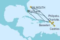 Visitando Fort Lauderdale (Florida/EEUU), Charlotte Amalie (St. Thomas), St. John's (Antigua), Castries (Santa Lucía/Caribe), Basseterre (Antillas), Philipsburg (St. Maarten), Fort Lauderdale (Florida/EEUU)