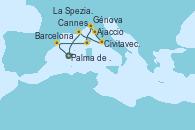 Visitando Palma de Mallorca (España), Barcelona, Ajaccio (Córcega), Génova (Italia), La Spezia, Florencia y Pisa (Italia), Civitavecchia (Roma), Cannes (Francia), Palma de Mallorca (España)