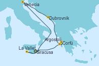 Visitando Siracusa (Sicilia), Venecia (Italia), Dubrovnik (Croacia), Corfú (Grecia), Argostoli (Grecia), La Valletta (Malta), Siracusa (Sicilia)