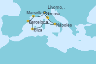 Visitando Génova (Italia), Marsella (Francia), Barcelona, Ibiza (España), Nápoles (Italia), Livorno, Pisa y Florencia (Italia), Génova (Italia)