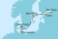 Visitando Copenhague (Dinamarca), Warnemunde (Alemania), Estocolmo (Suecia), Tallin (Estonia), San Petersburgo (Rusia), Copenhague (Dinamarca)