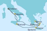 Visitando Civitavecchia (Roma), Siracusa (Sicilia), Chania (Creta/Grecia), Mykonos (Grecia), Atenas (Grecia), Santorini (Grecia), Nápoles (Italia), Civitavecchia (Roma)