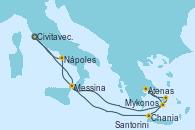 Visitando Civitavecchia (Roma), Messina (Sicilia), Chania (Creta/Grecia), Mykonos (Grecia), Atenas (Grecia), Santorini (Grecia), Nápoles (Italia), Civitavecchia (Roma)