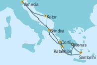 Visitando Atenas (Grecia), Corfú (Grecia), Kotor (Montenegro), Venecia (Italia), Brindisi (Italia), Katakolon (Olimpia/Grecia), Santorini (Grecia), Atenas (Grecia)